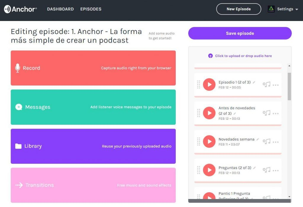 Anchor - La forma más simple de crear un podcast 1